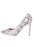 Pointed Stiletto Court Heels Snake Skin Print Monochrome