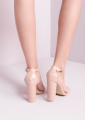 Pointed Strappy Chunky Heeled Sandal Nude