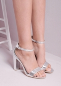 Pointed Strappy Chunky Heeled Sandal Silver
