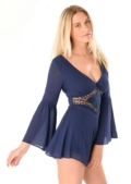 Poppy Crochet Insert Playsuit Blue