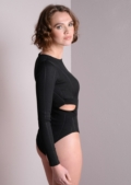 Ribbed Cut Out Bodysuit Dusty Black