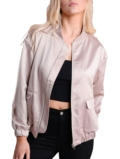 Satin Nude Pocket Front Bomber Jacket Rose
