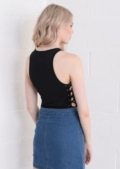 Scoop Neck Side Lace Up Sleeveless Bodysuit Black