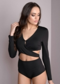 Slinky Front Cross Bodysuit with Cut out Details Black