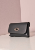 Small Leather Clutch Chain Bag Black