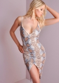Snake Skin Plunge V neck Strappy Bodycon Dress Beige