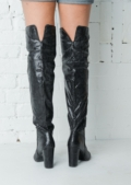Snakeskin Effect Knee High Boots Black