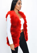 Soft Touch Faux Fur Fully Lined Gilet Red