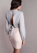 Split Tie Back High Neck Crop Top Grey