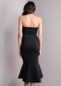 Strapless Mermaid Fishtail Off Shoulder Midi Bodycon Dress black