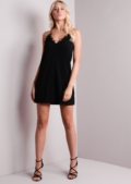 Strappy Cut Out Front Swing Dress Black