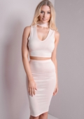 Striped Choker Crop Top and Bodycon Skirt Co-Ord Pink