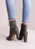 Suede Block Heel Ankle Boots Grey