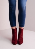 Suede Block Heel Ankle Boots Red