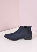 Faux Leather Slip On Chelsea Boots Blue