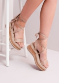 Suede Lace Up Braided Cork Wedge Flat Espadrille Sandals Mocha