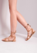 Suede Lace Up Strappy Gladiator Sandals Camel
