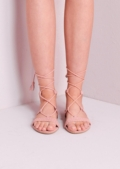Suede Lace Up Strappy Gladiator Sandals Pink