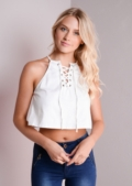 Tanya Lace Up Crop Top White