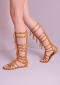Tassel Buckle Strap Gladiator Sandals Tan