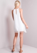 Tassel Trim Strappy Slip Cami Dress White