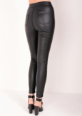 Tess Black Leather Look Jeans