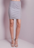 Textured Mini Skirt Grey