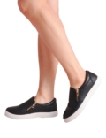 Textured Snake Print Slip On Skater Pumps With Zip Details Black