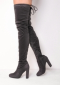 Thigh High Extra Long Block Heel Faux Suede Tie Back Boots Grey