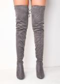 Thigh High Over the Knee Tie Back Faux Suede Heeled Boots Light Grey