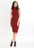 Tia Basic Roll Neck Midi Dress Red