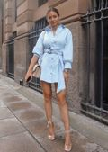 Tie Waist Tortoiseshell Belted Button Through Shirt Dress  Blue