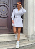 Tie Waist Tortoiseshell Belted Button Through Shirt Dress White