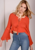 Urania Orange Gypsy Crop Top
