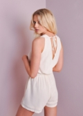 V-Neck Sleeveless Tie Back Playsuit Cream