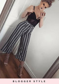 White Stripe Tie Waist Culottes Trousers Black