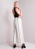 Wide Leg Striped Trousers White