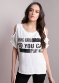 Work Hard play Nice Cold Shoulder Top White
