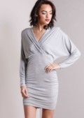 Wrap Front Ruched Sides Bodycon Dress Silver