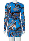 Abstract Exposed Seam Crop Top And Ruched Drawstring Mini Skirt Co-Ord Set Blue