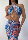 Abstract Halterneck Crop Top And High Waist Midi Skirt Co-Ord Set Blue