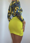 Abstract Print Mesh Bodysuit And Wrap Over Mini Skirt Co-Ord Set Multi