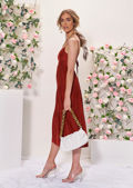 Tie Back Spaghetti Shoulder Strapped Frill Tiered Midi Dress Red