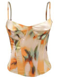 Adjustable Spaghetti Strapped Floral Structured Corset Top Yellow
