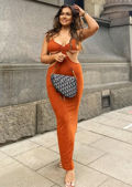 Adjustable Strapped Side Cut Out Maxi Bodycon Dress Orange