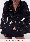 Gold Star Sequin Plunge Satin Peplum Shirt Top Black
