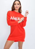 Amour Slogan Dip Hem Sweatshirt Jumper Red