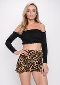 Animal Print Frill Mini Skort Multi