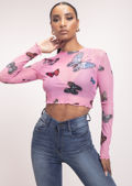 Butterfly Print Frilled Long Sleeve Mesh Crop Top Pink