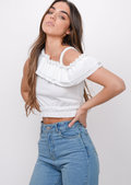 Asymmetric Frill Crop Top White